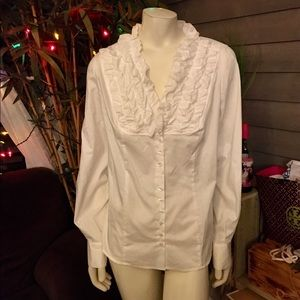 Nine West White Ceara Ruffled Button Down Blouse L